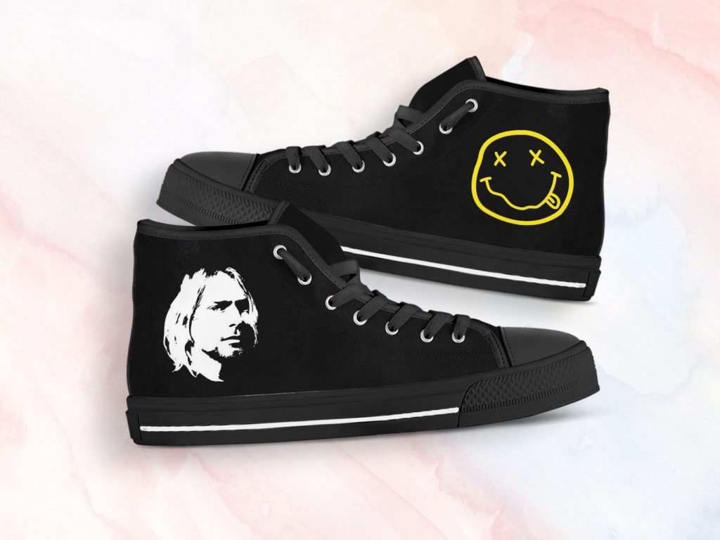 Kurt Cobain Shoes | Custom High Top Sneakers For Kids & Adults
